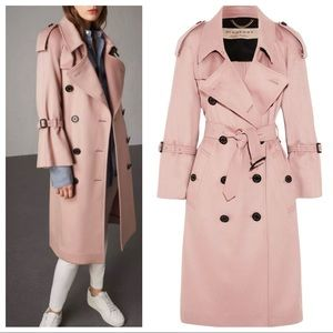 Burberry London pink cashmere trench coat